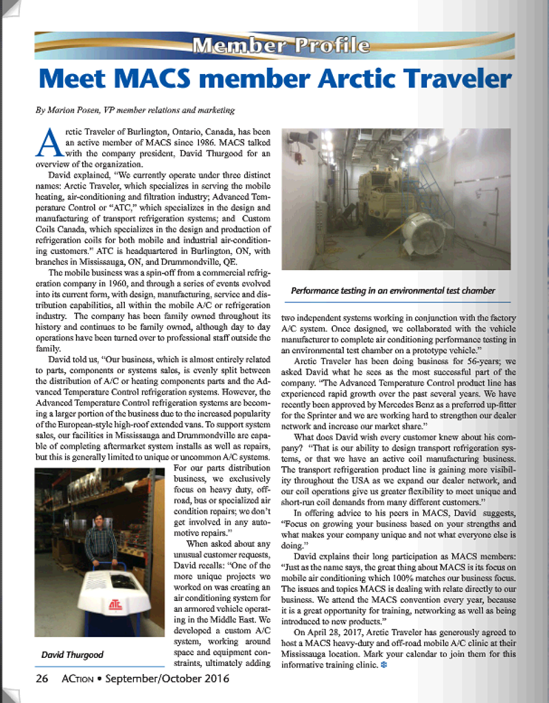 Lets talk Transport HVAC and Refrigeration - MACS interview with ATC President for the Sept/Oct edition