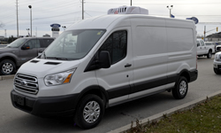 Refrigerated Ford Transit Food Truck with ATC roof mounted refrigeration system. Call 1-833-878-5282 for more info.